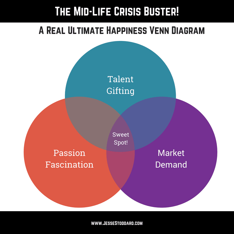The Mid-Life Crisis Buster! A Real Ultimate Happiness Venn Diagram